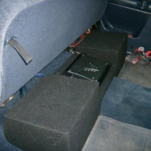 sub box with 2 10 kick compvr with a kicker zx 750