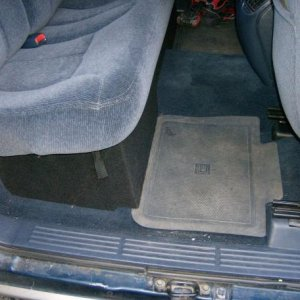 the next step on the inside is catchall black floor mats to match the box....the mats in there are the stock ones from back in the day.  the seat has